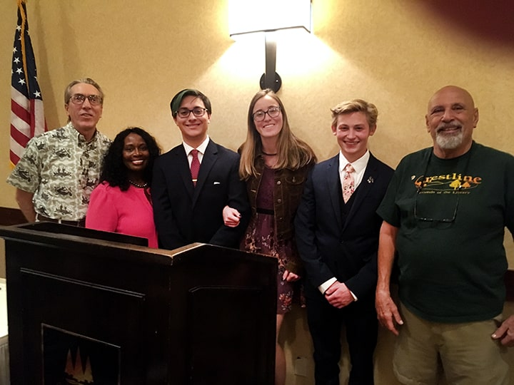 At the Rotary Club's Scholarshiip Awards Ceremony, Blue Jay Jazz Foundation Board Members Dr. Hugh Bialecki and Chris Levister (left), and Rotary's Jack Winston (right), congratulate winners Joshua Mainez, Madeline Zweber, and Gavin Harris (center).
