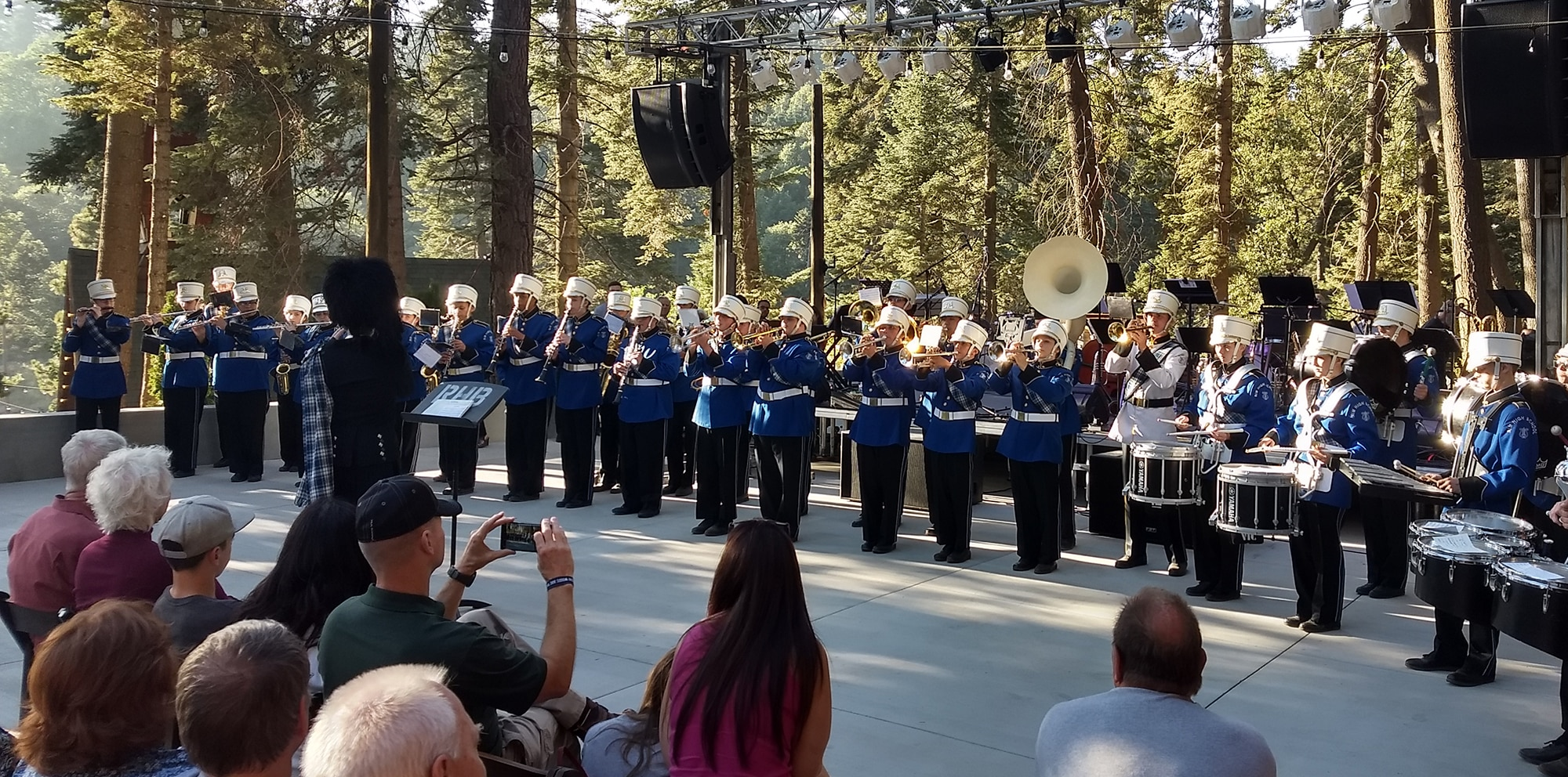 The 2017 Rim of the World High School Marching Band at the Blue Jay Jazz Festival at SkyPark Santa's Village