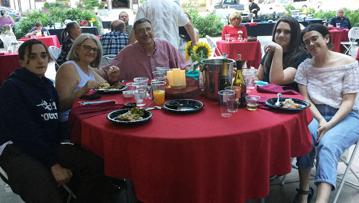 The Barone Family (left to right), Virgil, Karen, Vaughn, Quentin, and Olivia at the Tudor House on August 12