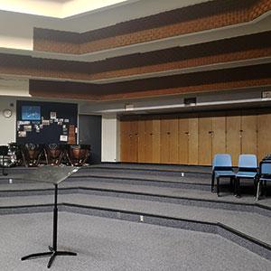 The empty Rim High School music room