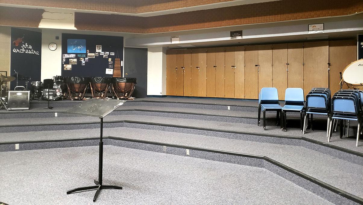 The Rim High School Music Room is empty as the 2020-21 school year begins